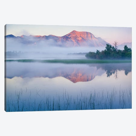 Lower Waterton Lake And Vimy Peak In Fog At Sunrise, Waterton Glacier International Peace Park, Canada Canvas Print #PIM15992} by Panoramic Images Canvas Wall Art