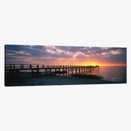 Pier On The Beach, Crystal Beach, Florida, USA Canvas Print #PIM16007} by Panoramic Images Art Print