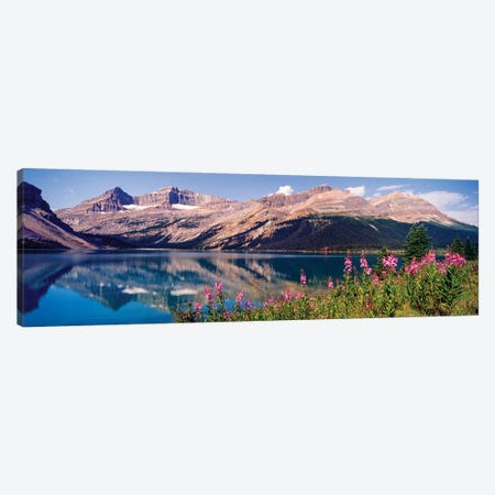 Reflection Of Mountain In A Lake, Bow Lake, Mt. Jimmy Simpson, Alberta, Canada Canvas Print #PIM16014} by Panoramic Images Canvas Wall Art