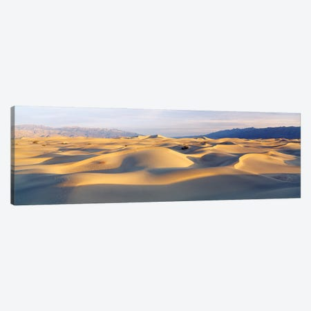 Sand Dunes With Mountains In The Background, Mesquite Flat Dunes, Death Valley National Park, California, USA Canvas Print #PIM16019} by Panoramic Images Art Print