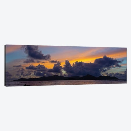 Silhouetted Fishing Boat In Sea At Sunset With Praslin Island In Background, La Digue, Seychelles Canvas Print #PIM16025} by Panoramic Images Canvas Art Print