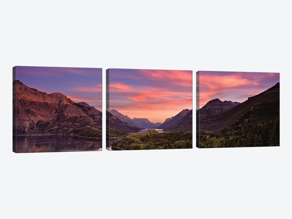 Sunset Over Prince Of Wales Hotel In Waterton Lakes National Park, Alberta, Canada by Panoramic Images 3-piece Canvas Artwork