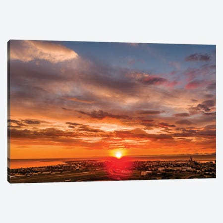 Sunset, Reykjavik, Iceland Canvas Print #PIM16034} by Panoramic Images Canvas Artwork