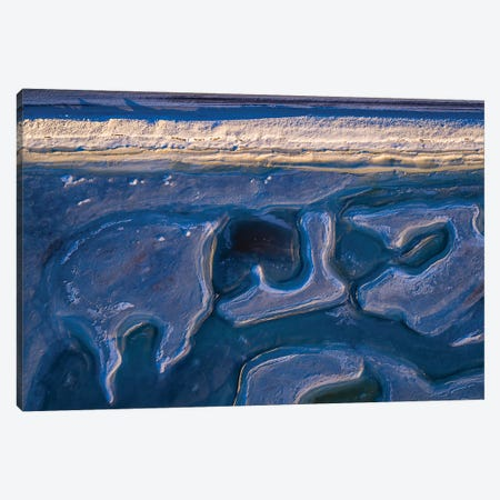 Top View Of Patterns On The Beach, Eyjafjordur, Iceland Canvas Print #PIM16039} by Panoramic Images Art Print