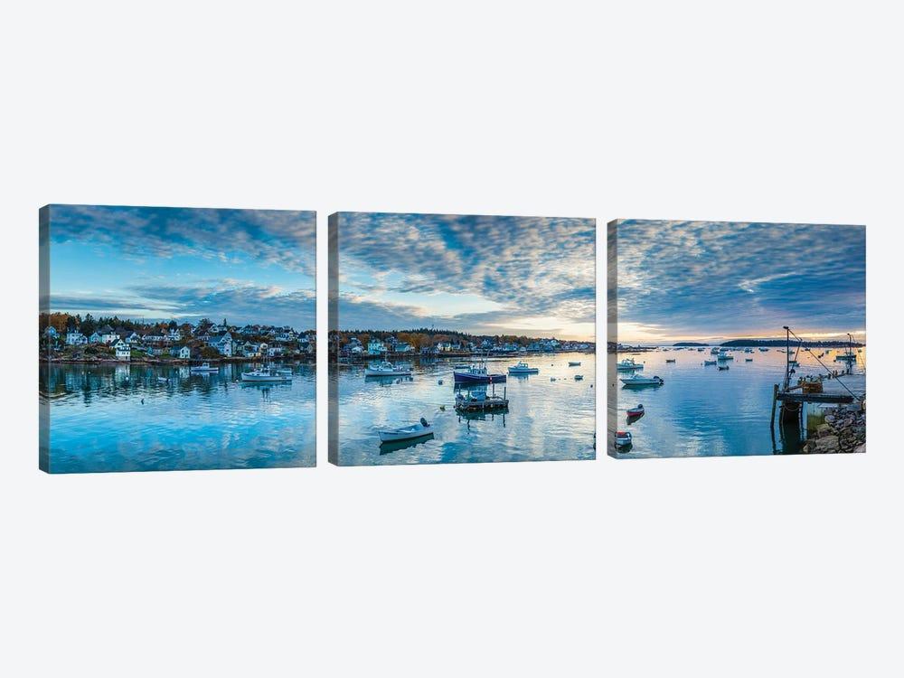 Usa, Maine, Stonington, Stonington Harbor, Dawn by Panoramic Images 3-piece Canvas Wall Art