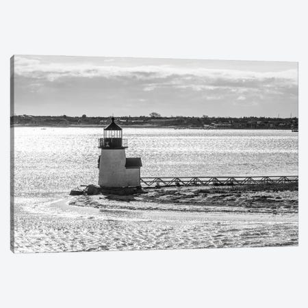 Usa, New England, Massachusetts, Nantucket Island, Nantucket Town, Brnt Point Lighthouse From Nantucket Ferry 3-Piece Canvas #PIM16052} by Panoramic Images Canvas Print