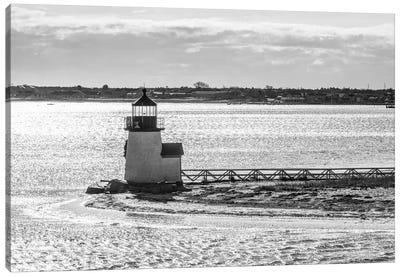 Usa, New England, Massachusetts, Nantucket Island, Nantucket Town, Brnt Point Lighthouse From Nantucket Ferry Canvas Art Print
