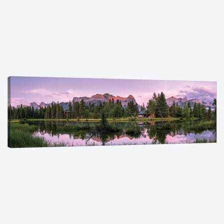 View Of Lake And Mountains, Spring Creek Pond, Alberta, Canada Canvas Print #PIM16061} by Panoramic Images Canvas Artwork