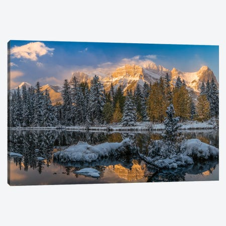 View Of Lake And Mountains, Spring Creek Pond, Alberta, Canada Canvas Print #PIM16062} by Panoramic Images Canvas Artwork