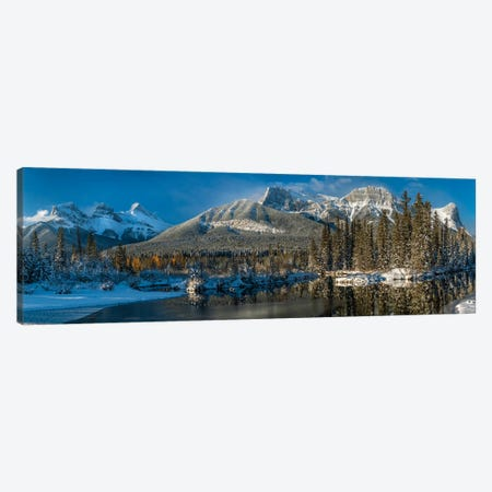 View Of Lake And Mountains, Spring Creek Pond, Alberta, Canada Canvas Print #PIM16063} by Panoramic Images Canvas Wall Art