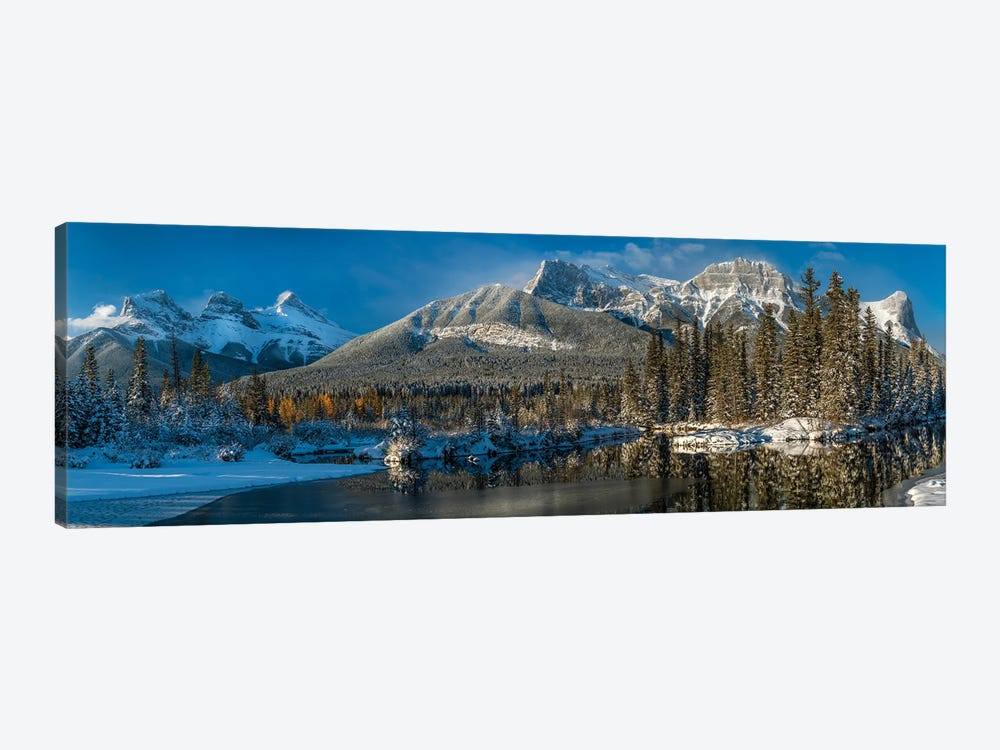 View Of Lake And Mountains, Spring Creek Pond, Alberta, Canada by Panoramic Images 1-piece Art Print