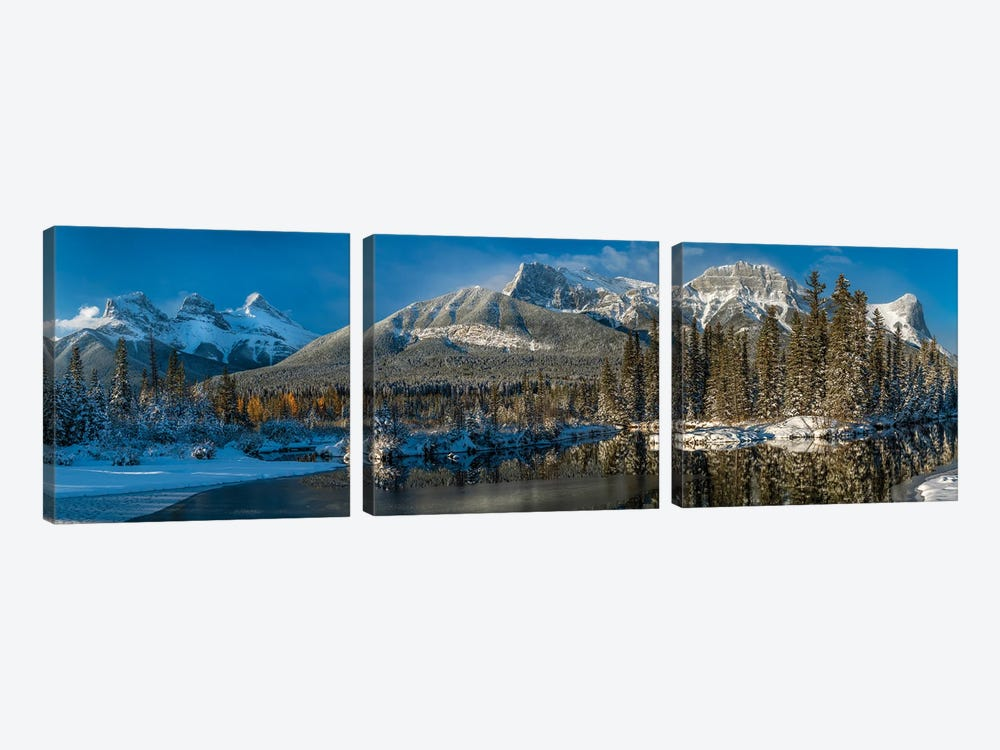 View Of Lake And Mountains, Spring Creek Pond, Alberta, Canada by Panoramic Images 3-piece Canvas Art Print