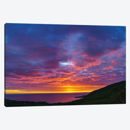 View Of Sunset Over Sea, Kealakekua Bay, Hawaii, USA Canvas Print #PIM16071} by Panoramic Images Canvas Print