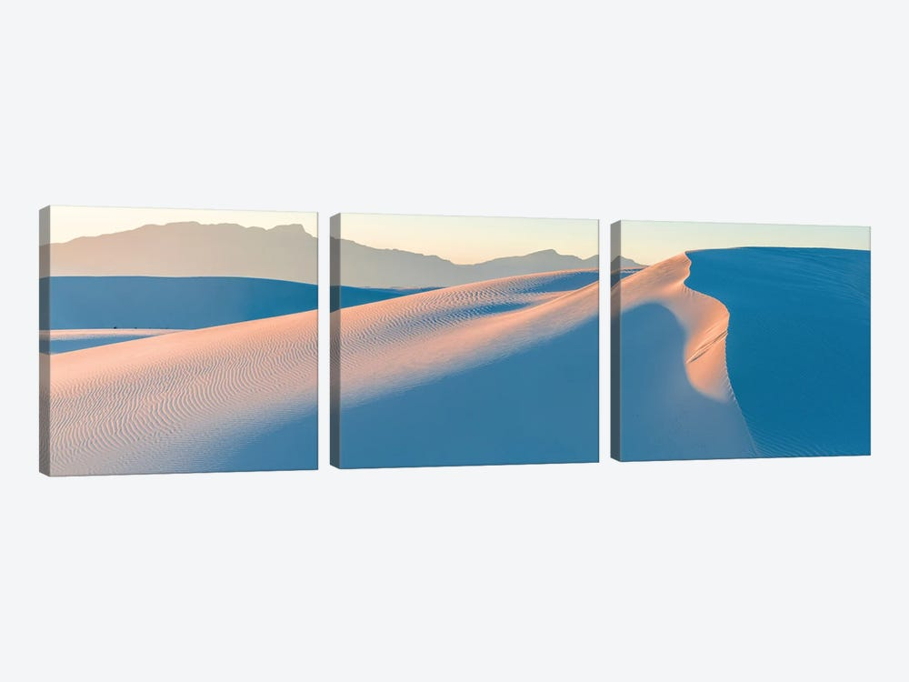White Gypsum Sand Dunes In Desert And Under Clear Sky, White Sands National Monument, New Mexico, USA by Panoramic Images 3-piece Canvas Wall Art