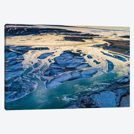 Winter Light, Crooked River Bed, Thjorsa River, South Coast Iceland Canvas Print #PIM16078} by Panoramic Images Art Print