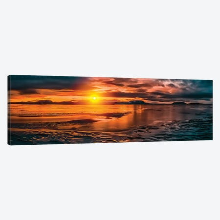 Winter Sunset, Lake Myvatn, Iceland Canvas Print #PIM16079} by Panoramic Images Art Print