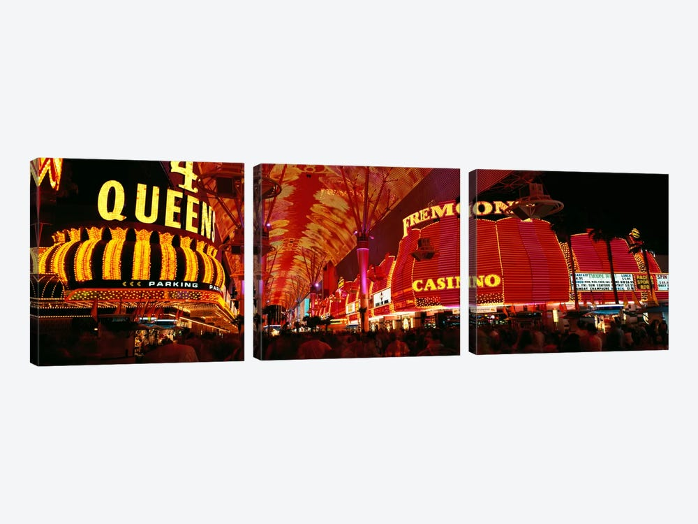 Fremont Street, Las Vegas, Nevada, USA by Panoramic Images 3-piece Canvas Art Print