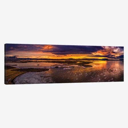 Winter Sunset, Lake Myvatn, Iceland Canvas Print #PIM16080} by Panoramic Images Canvas Wall Art