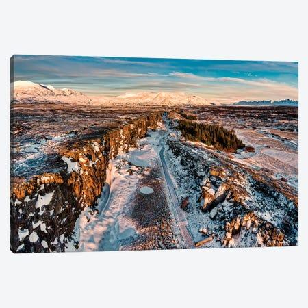 Winter, Almannagja Fissure, Thingvellir National Park, Iceland 3-Piece Canvas #PIM16081} by Panoramic Images Canvas Wall Art