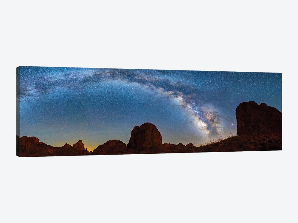 Landscape With Rock Formations In Desert Under Milky Way Galaxy In Sky, Kofa Queen Canyon, Arizona, USA by Panoramic Images 1-piece Canvas Wall Art