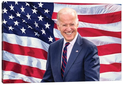 Joe Biden, President Elect, Former Vice President, Us Flag Background 2020 Canvas Art Print