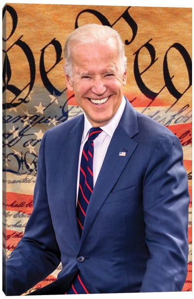 Joe Biden, President Elect, Former Vice President, With The Us Constitution Background 2020 Canvas Art Print