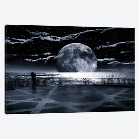 A Computer Generated Image Of A Super Moon Over The Mediterranean. Balcon De Europa, Nerja, Malaga Province, Andalucia, Spain Canvas Print #PIM16104} by Panoramic Images Canvas Artwork