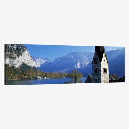 Church at the lakeside, Hallstatt, Salzkammergut, Austria Canvas Print #PIM1614} by Panoramic Images Canvas Art Print