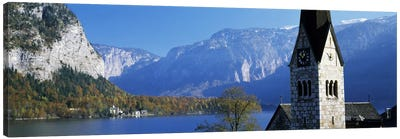 Church at the lakeside, Hallstatt, Salzkammergut, Austria Canvas Art Print