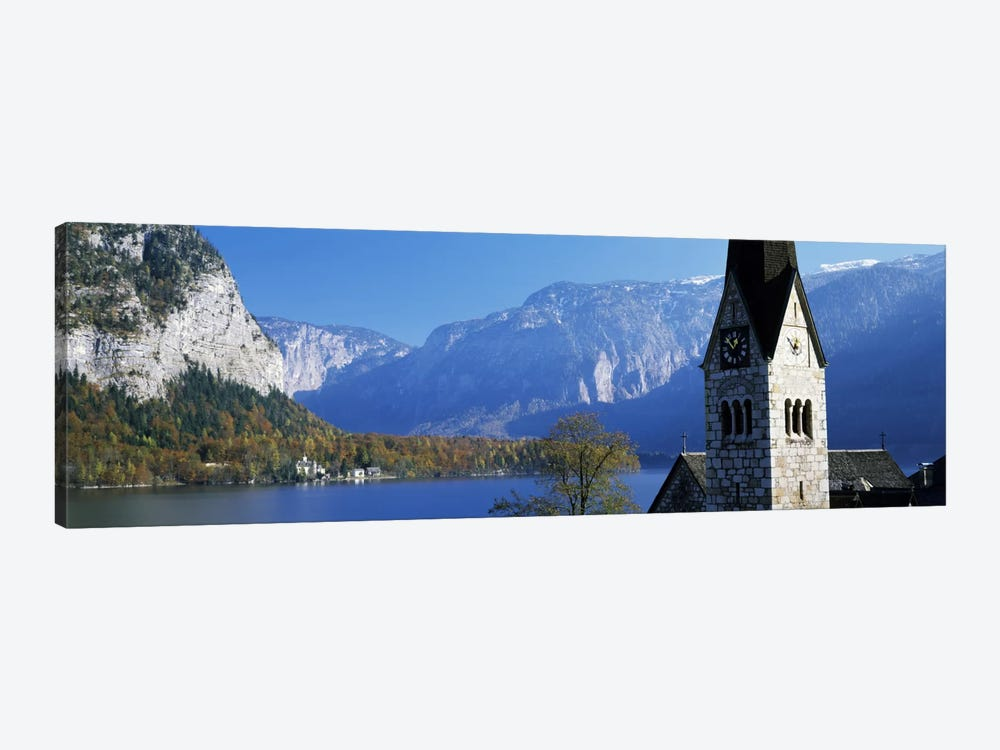 Church at the lakeside, Hallstatt, Salzkammergut, Austria by Panoramic Images 1-piece Art Print