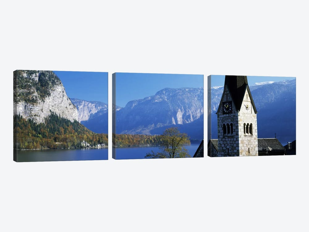 Church at the lakeside, Hallstatt, Salzkammergut, Austria by Panoramic Images 3-piece Canvas Art Print