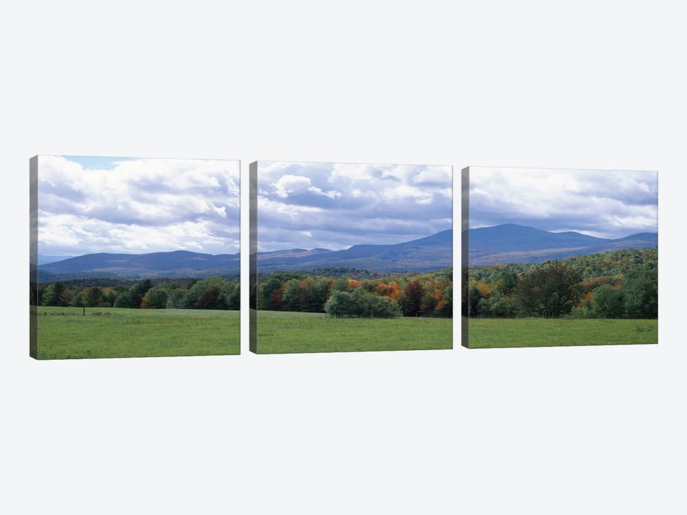 Clouds over a grassland, Mt Mansfield, Vermont, USA by Panoramic Images 3-piece Art Print