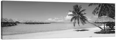 Lounge Chair Under A Beach Umbrella, Moana Beach, Bora Bora, French Polynesia Canvas Art Print