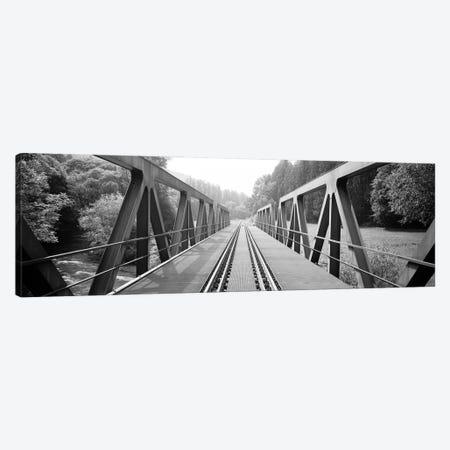 Railroad Tracks And Bridge Germany Canvas Print #PIM16211} by Panoramic Images Canvas Art Print