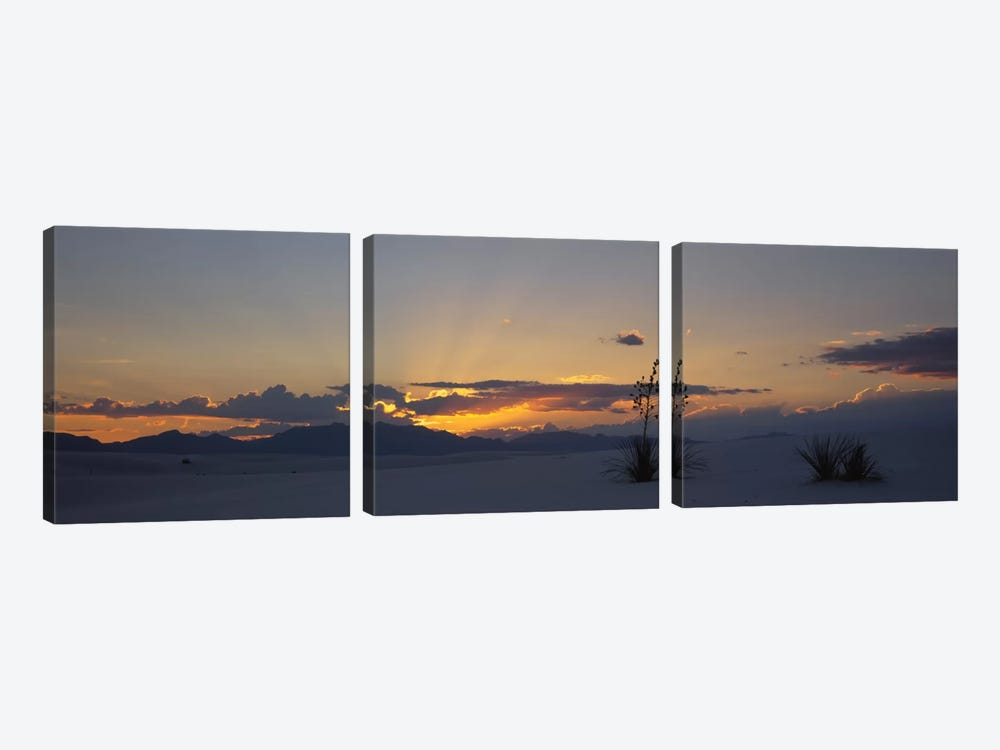 Cloudy Sunset, White Sands National Monument, New Mexico, USA by Panoramic Images 3-piece Canvas Print