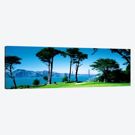 Golf Course w\ Golden Gate Bridge San Francisco CA USA Canvas Print #PIM1628} by Panoramic Images Canvas Print