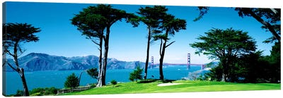 Golf Course w\ Golden Gate Bridge San Francisco CA USA Canvas Print #PIM1628