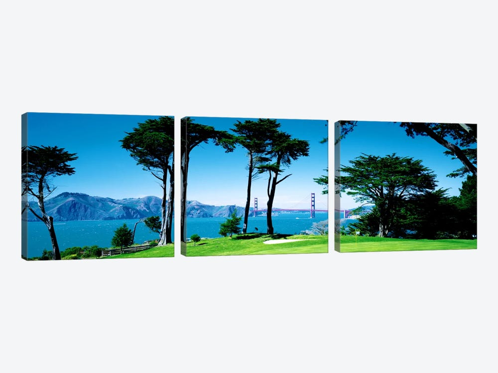 Golf Course w\ Golden Gate Bridge San Francisco CA USA by Panoramic Images 3-piece Canvas Artwork