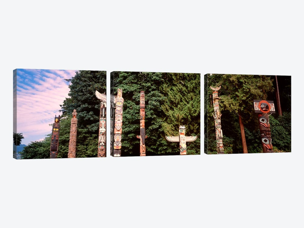 Totem Poles, Brockton Point, Stanley Park, Vancouver, British Columbia, Canada by Panoramic Images 3-piece Canvas Art Print