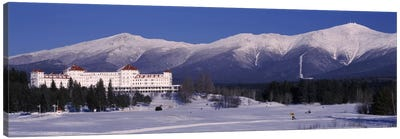 Hotel near snow covered mountainsMt. Washington Hotel Resort, Mount Washington, Bretton Woods, New Hampshire, USA Canvas Art Print
