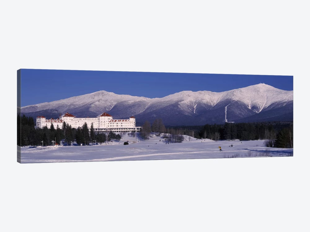 Hotel near snow covered mountainsMt. Washington Hotel Resort, Mount Washington, Bretton Woods, New Hampshire, USA by Panoramic Images 1-piece Canvas Art Print