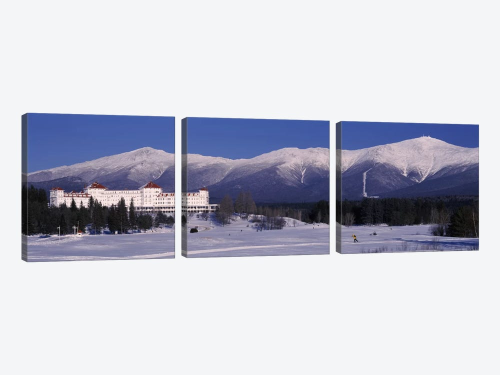 Hotel near snow covered mountainsMt. Washington Hotel Resort, Mount Washington, Bretton Woods, New Hampshire, USA by Panoramic Images 3-piece Canvas Print