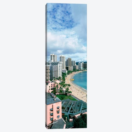 High angle view of a beach, Waikiki Beach, Honolulu, Oahu, Hawaii, USA Canvas Print #PIM1637} by Panoramic Images Canvas Art Print