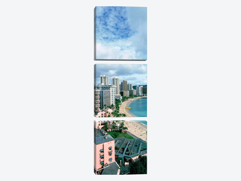 High angle view of a beach, Waikiki Beach, Honolulu, Oahu, Hawaii, USA by Panoramic Images 3-piece Canvas Art
