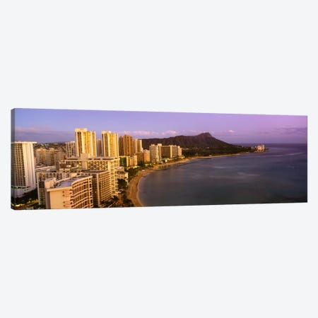 High angle view of buildings at the waterfront, Waikiki Beach, Honolulu, Oahu, Hawaii, USA Canvas Print #PIM1638} by Panoramic Images Canvas Art
