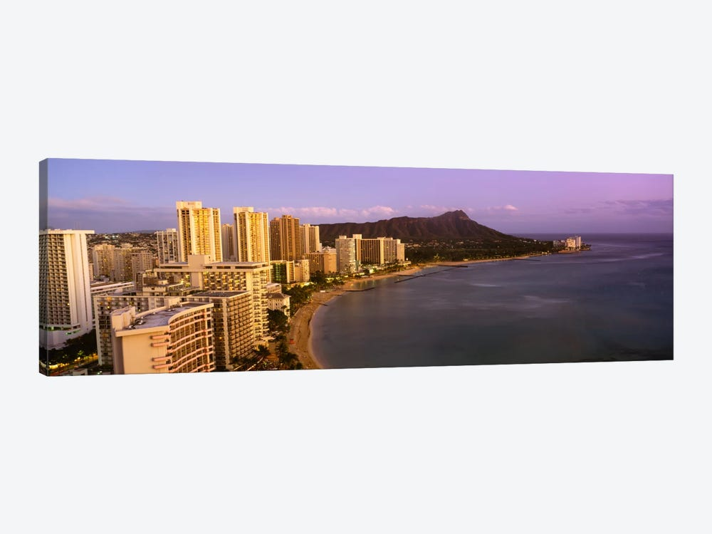 High angle view of buildings at the waterfront, Waikiki Beach, Honolulu, Oahu, Hawaii, USA 1-piece Canvas Print