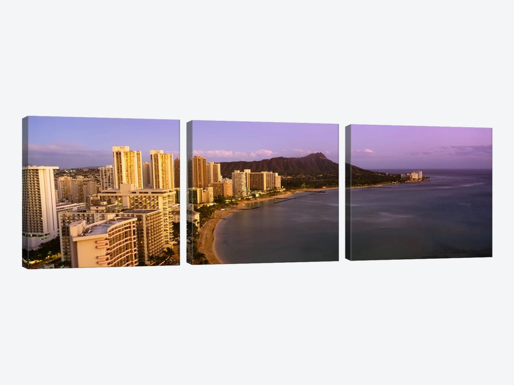 High angle view of buildings at the waterfront, Waikiki Beach, Honolulu, Oahu, Hawaii, USA by Panoramic Images 3-piece Canvas Art Print