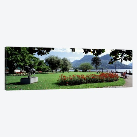 Park near Lake Lugano bkgrd MT Monte Bre canton Ticino Switzerland Canvas Print #PIM163} by Panoramic Images Canvas Art Print