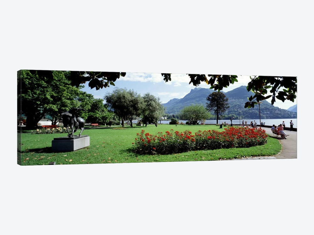 Park near Lake Lugano bkgrd MT Monte Bre canton Ticino Switzerland by Panoramic Images 1-piece Canvas Wall Art
