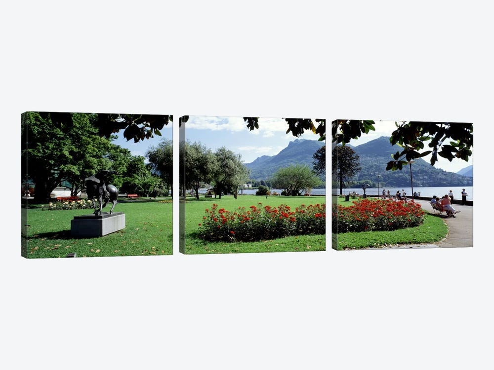 Park near Lake Lugano bkgrd MT Monte Bre canton Ticino Switzerland by Panoramic Images 3-piece Canvas Wall Art